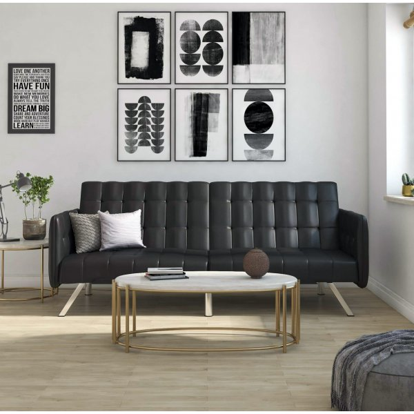 Emily Convertible Clic Clac Sofa Bed - Black Faux Leather