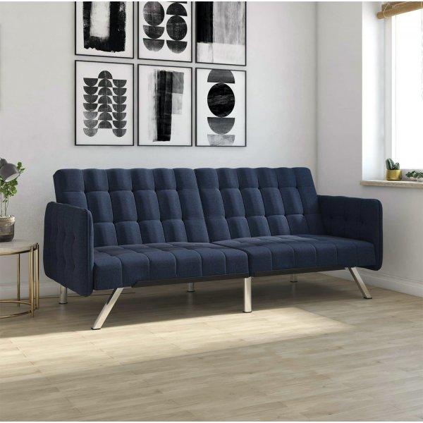 Emily Convertible Clic Clac Sofa Bed - Navy Blue Linen