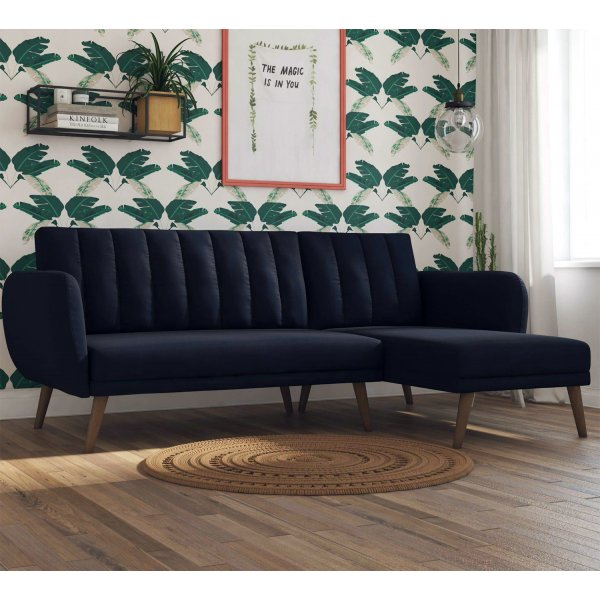 Brittany Sectional Sofa Bed- Navy Blue