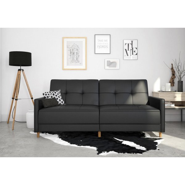 Andora Sprung Sofa Bed- Black Faux Leather