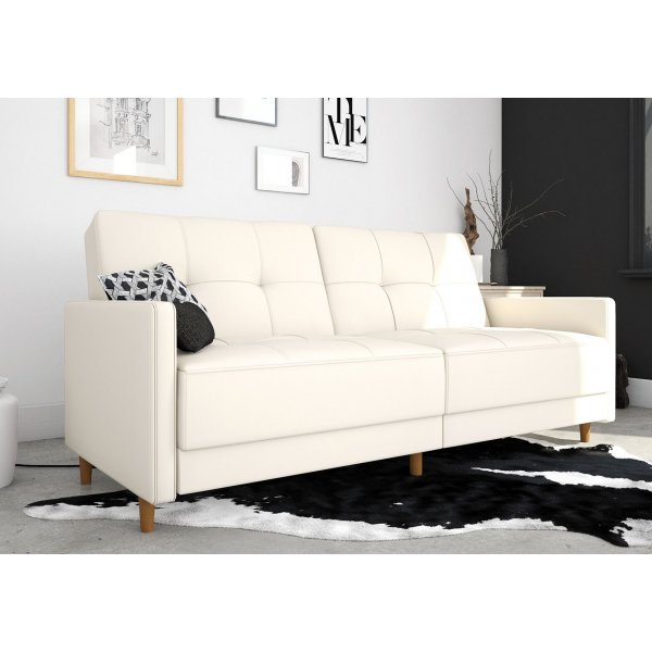 Andora Sprung Sofa Bed- White Faux Leather
