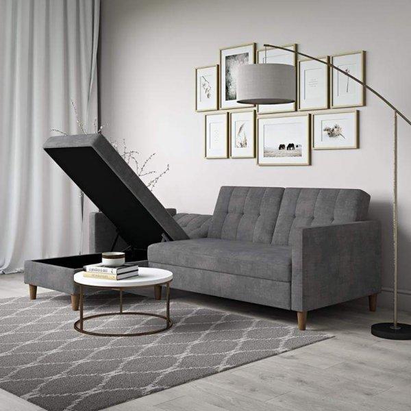 Hartford Selectional Storage Sofa Bed- Chenille Grey