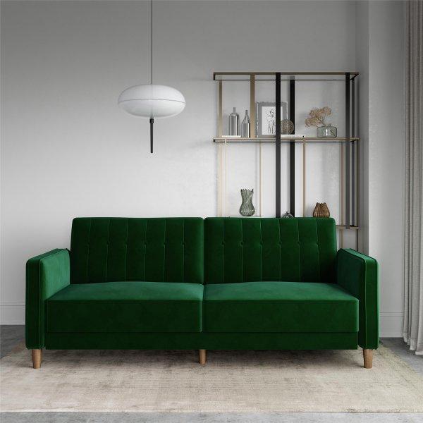 Pin Tufted Transitional Futon Sofa Bed - Green Velvet