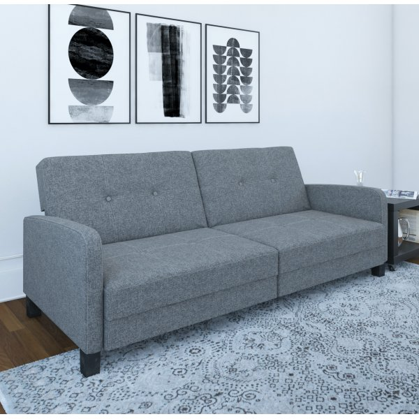 Boston Convertible Futon Sofa Bed- Grey