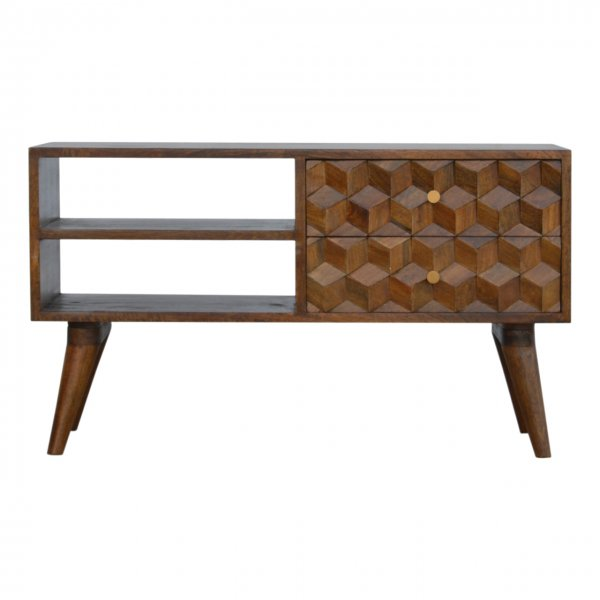 """Mason and Bailey Chestnut Cube Carved Media Unit for up to 40\"""" TVs"""