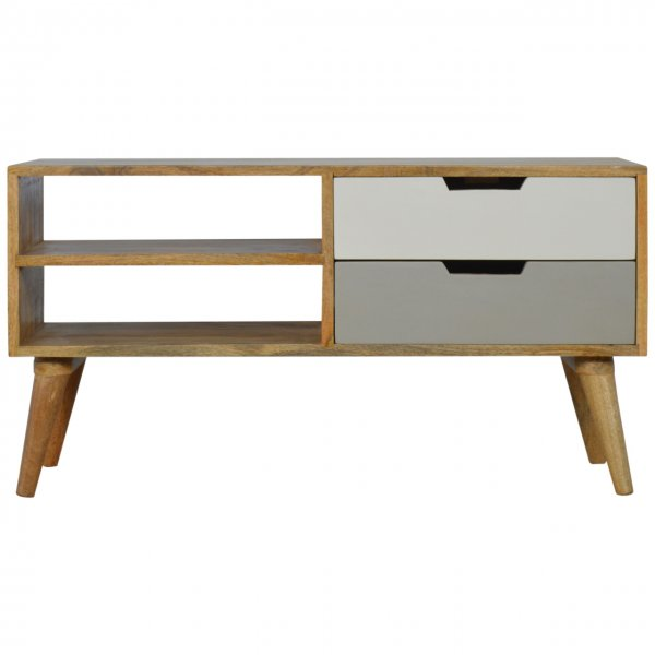 """Mason and Bailey Grey and White Media Unit with 2 Drawers for up to 42\"""" TVs"""