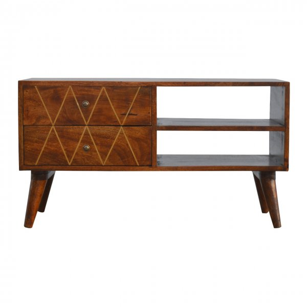 """Mason and Bailey Geometric Brass Inlay Media Unit for up to 42\"""" TVs"""