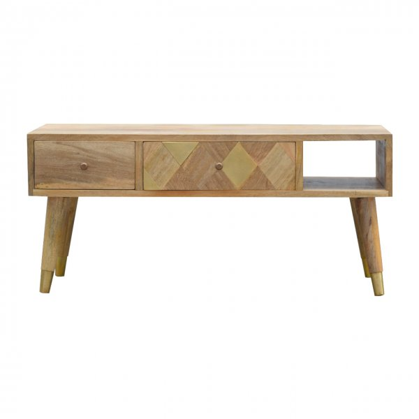 """Mason and Bailey Oak-ish Gold Brass Inlay Media Unit for up to 42\"""" TVs"""