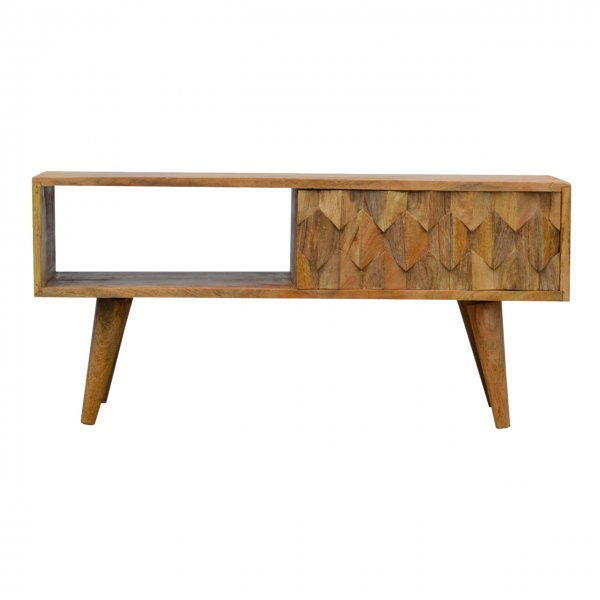 """Mason and Bailey Pineapple Carved Media Unit with Sliding Door for up to 42\"""" TVs"""