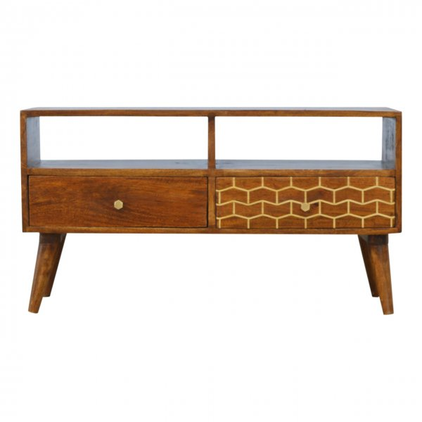 """Mason and Bailey Gold Patterned Drawer Media Unit for up to 42\"""" TVs"""