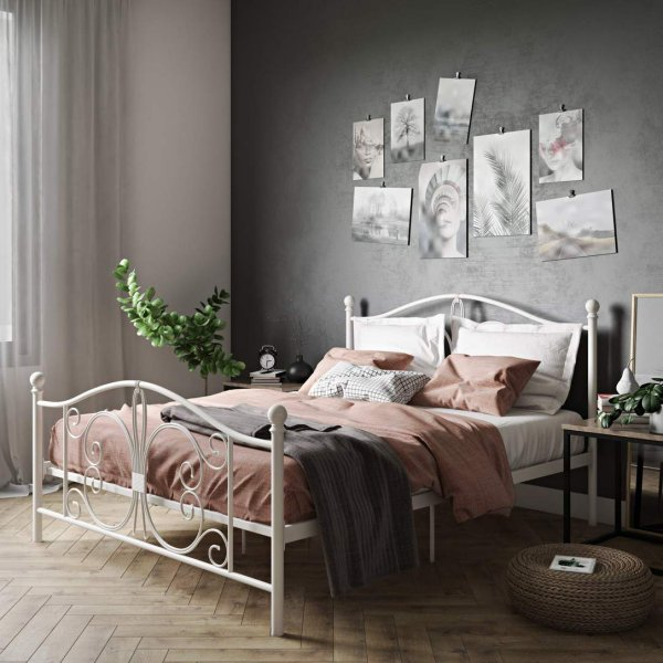 Bombay Metal King Bed in White