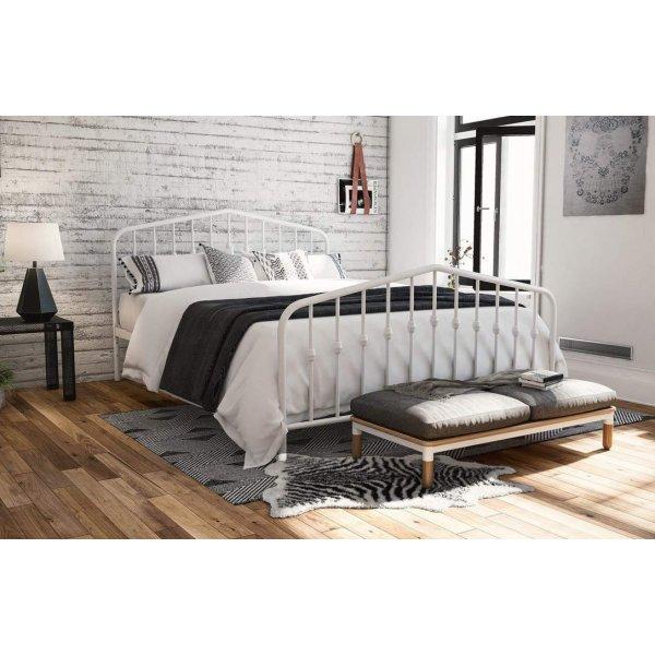 Bushwick Metal Double Bed in White