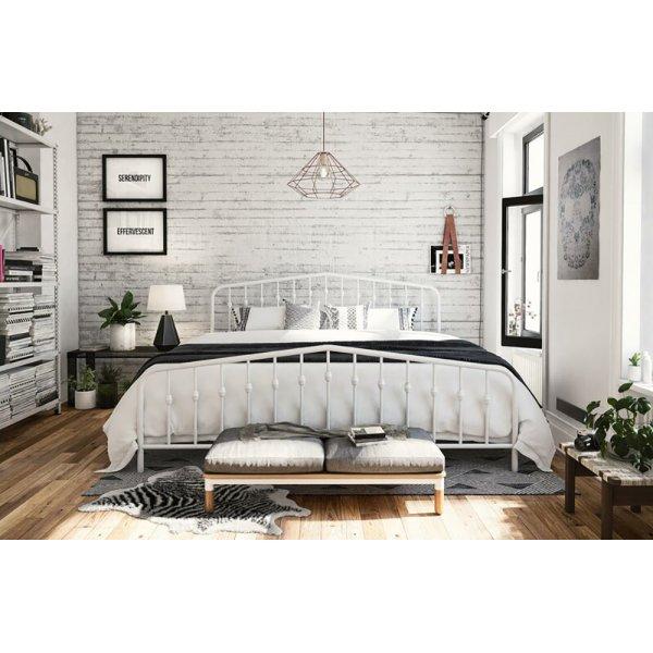 Bushwick Metal King Bed in White