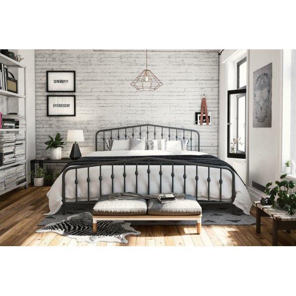 Bushwick Metal King Bed in Grey