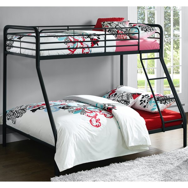 Single Over Double Bunk Bed- Black