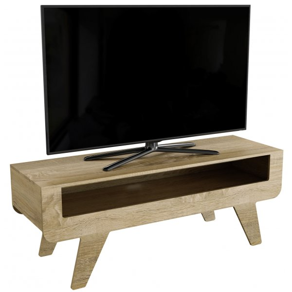 AVF Horton FS1200HOROW Whitewashed Oak Effect TV Stand with Tapered Legs