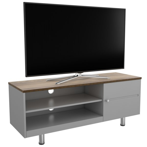 """AVF White Sands  FS1200WSSG Satin Grey and Rustic Wood Effect TV Stand For Up To 60\"""" TVs"""