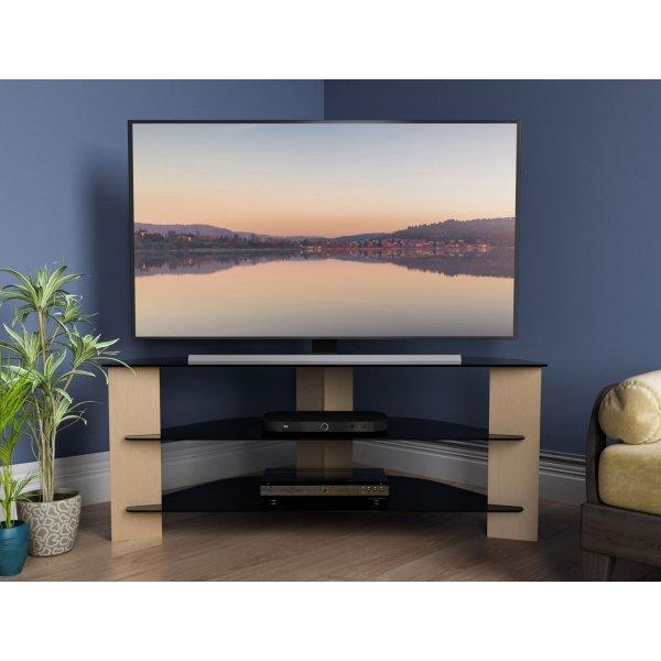 "AVF Varano FS1100VAROB Black and Oak Corner TV Stand For up to 55\"" TVs"