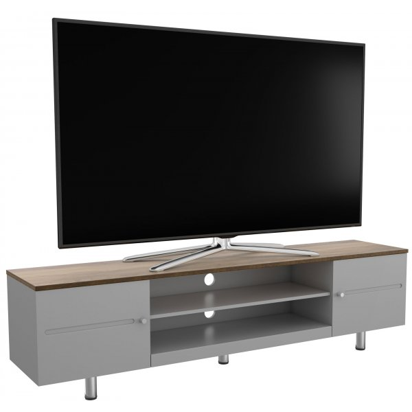 "AVF White Sands  FS1900WSSG Satin Grey and Rustic Wood Effect TV Stand For Up To 85"" TVs"