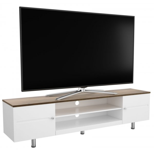"""AVF White Sands  FS1900WSSW Satin White and Rustic Wood Effect TV Stand For Up To 85\"""" TVs"""