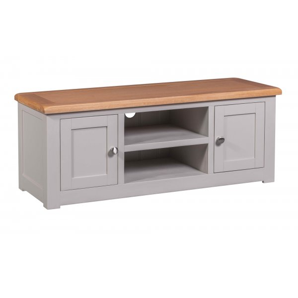 """Diamond Grey Painted Large TV Cabinet For Up To 65\"""" TVs"""
