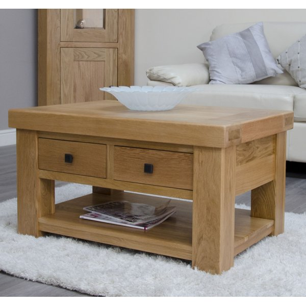 Bordeaux Oak Coffee Table With Drawers And Shelf