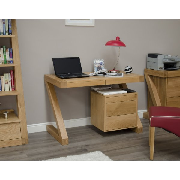 Solid Oak Small Z Computer Desk