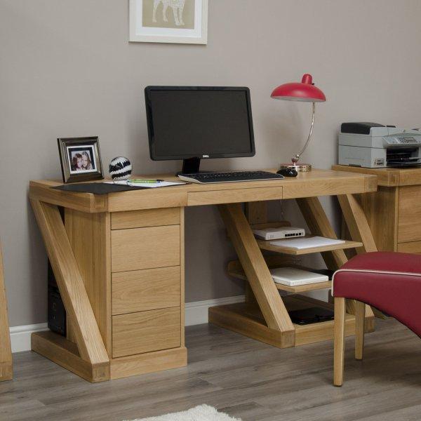 Solid Oak Large Z Computer Desk