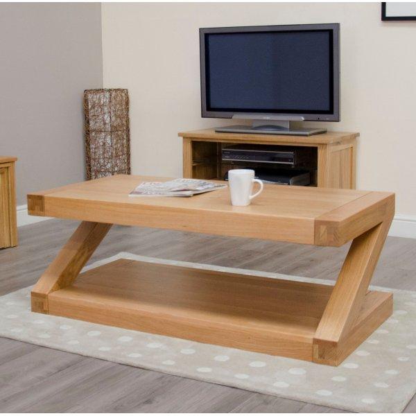 Solid Oak Z 4 x 2 Coffee Table