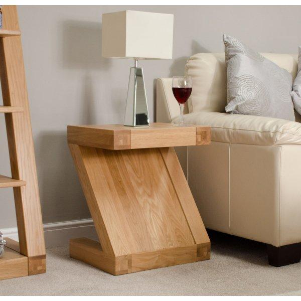 Solid Oak Z Lamp Table