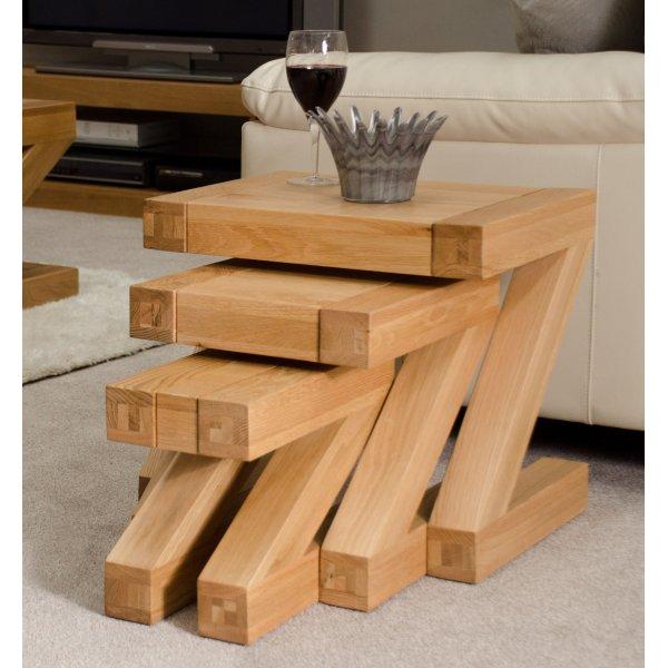 Solid Oak Z Nest of Tables