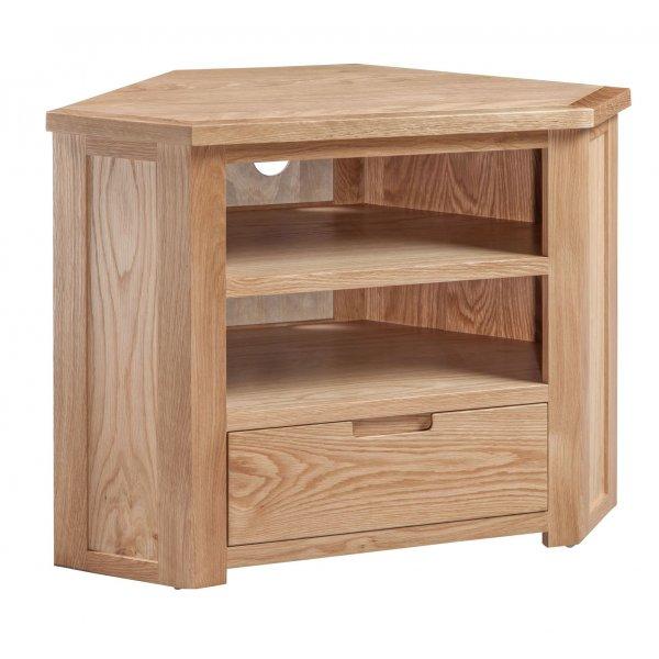 Solid Oak Moderna Corner TV Cabinet