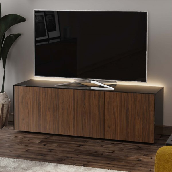 """Frank Olsen INTEL1500LED-BLK-WAL Black/Walnut TV Cabinet For TVs Up To 70\"""" with LED Lighting and Alexa Compatibility"""
