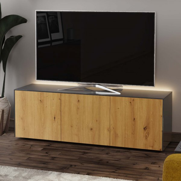 """Frank Olsen INTEL1500LED-GRY-OAK Grey/Oak TV Cabinet For TVs Up To 70\"""" with LED Lighting and Alexa Compatibility"""