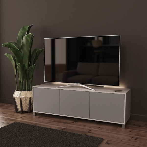 Frank Olsen LED Smart Click 1500 TV Cabinet - White and Grey