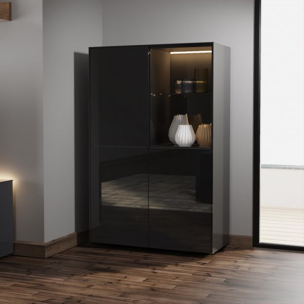 Frank Olsen INTEL DISPLAY CABINET in Gloss Black with LED Lighting and Alexa Compatibility