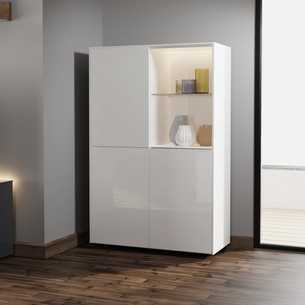 Frank Olsen INTEL DISPLAY CABINET Gloss White with LED Lighting and Alexa Compatibility
