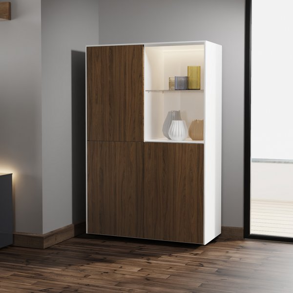 Frank Olsen INTEL DISPLAY CABINET Gloss White, Walnut Doors with LED Lighting and Alexa Compatibility