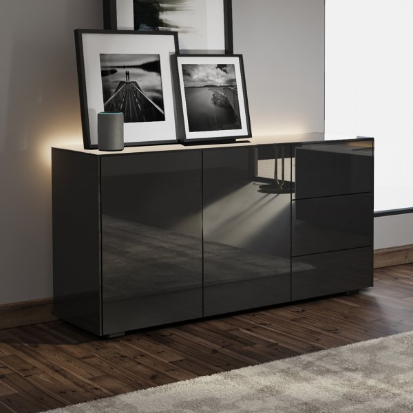 Frank Olsen INTEL SIDEBOARD Gloss Black with LED Lighting and Alexa Compatibility