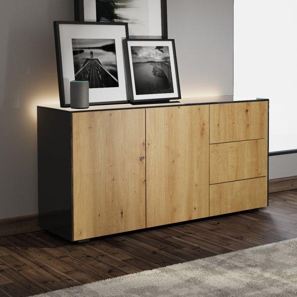 Frank Olsen INTEL SIDEBOARD Gloss Black, Oak Doors with LED Lighting and Alexa Compatibility