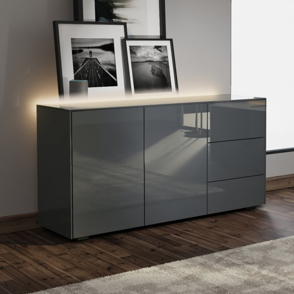 Frank Olsen INTEL SIDEBOARD Gloss Grey with LED Lighting and Alexa Compatibility