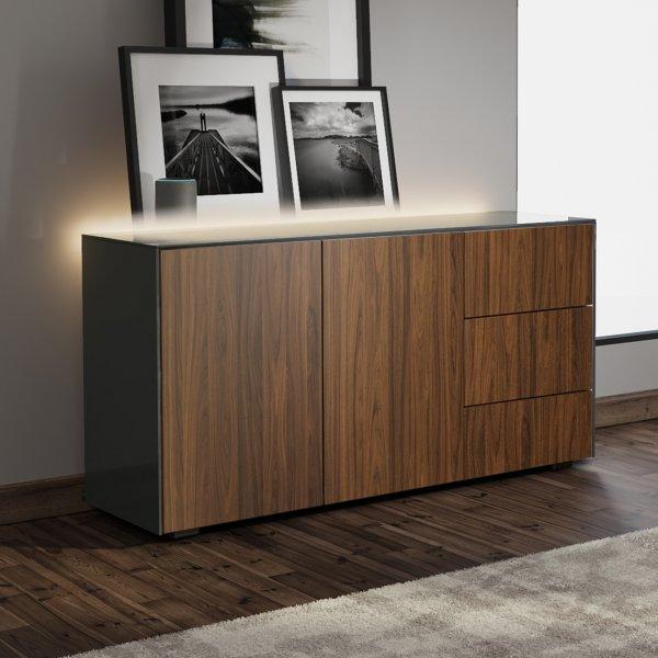Frank Olsen INTEL SIDEBOARD Gloss Grey, Walnut Doors with LED Lighting and Alexa Compatibility