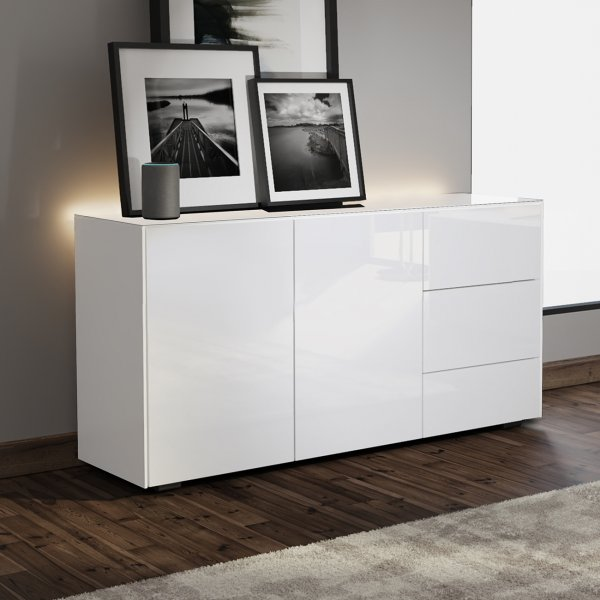 Frank Olsen INTEL SIDEBOARD Gloss White with LED Lighting and Alexa Compatibility
