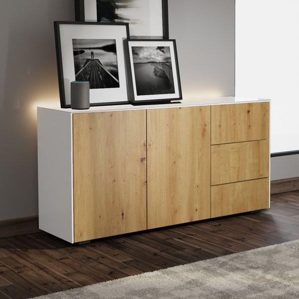 Frank Olsen INTEL SIDEBOARD Gloss White, Oak Doors with LED Lighting and Alexa Compatibility