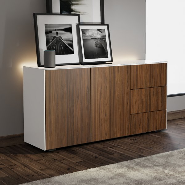 Frank Olsen INTEL SIDEBOARD Gloss White, Walnut Doors with LED Lighting and Alexa Compatibility