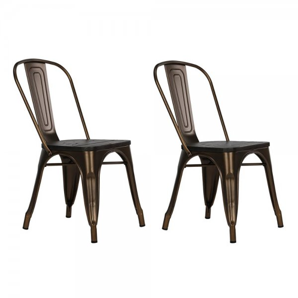 Fusion Metal Antique Bronze Dining Chair (Set of 2)