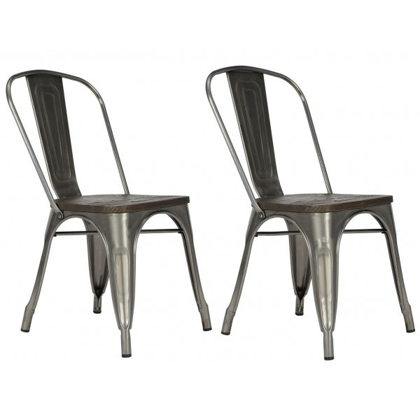 Fusion Metal Silver Dining Chair (Set of 2)