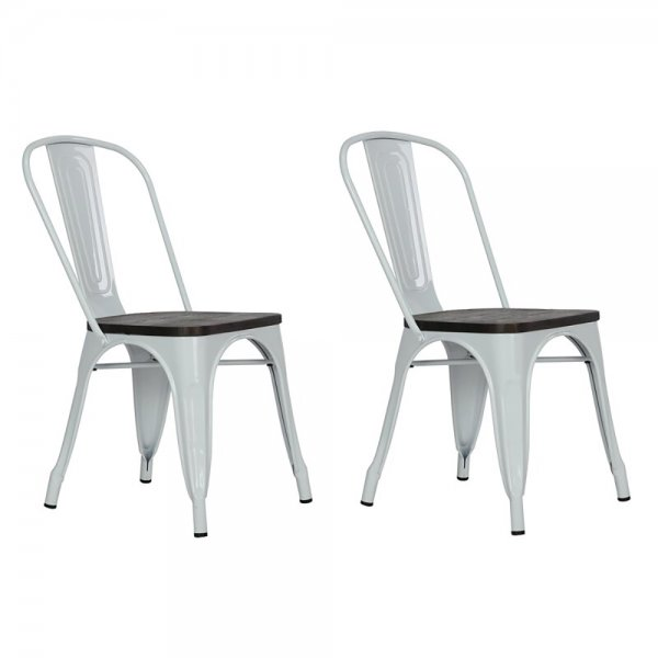 Fusion Metal White Dining Chair (Set of 2)