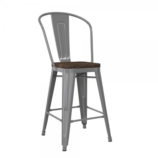 Luxor 24in Metal Counter Stool Silver 2PK