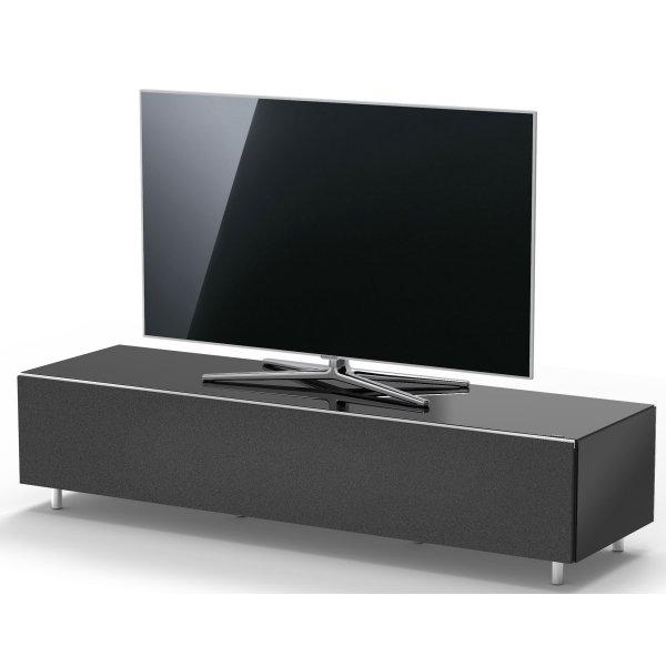 Just Racks by Spectral JRL1654T BG Black Gloss TV Cabinet with Speaker Grille Front - Fully Assembled